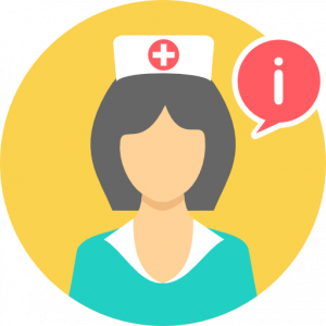nurse graphic with info thought bubble
